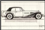 First conceptual drawing of the Clenet Series II Cabriolet.