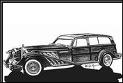 "This concept drawing by Alfred DiMora of the Clenet ""woody"" was considered for a hearse as well as a surfing vehicle. It was never built."